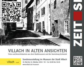 Zeitsprünge Villach Detail Ausstellungsplakat und QR Code