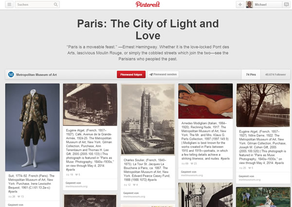 Pinterest Board Metropolitan Museum New York (Screenshot)