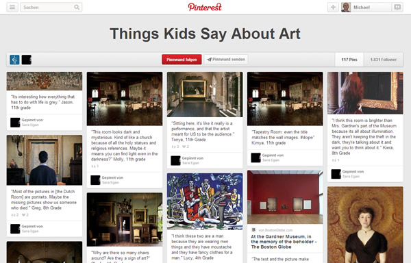 Things Kids say about Art - Gardner Museum - Pinterest Board