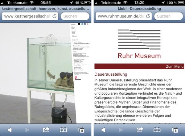 Museumswebsites - Gegenüberstellung nicht responisive und voll responsive